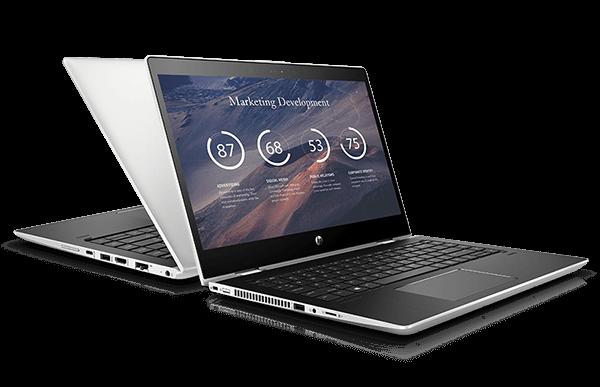 Dois laptops empresariais ProBook 400 um de frente para o outro