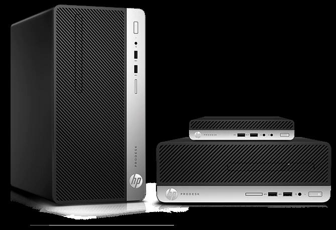 Desktops comerciais HP ProDesk 400 em diferentes tamanhos